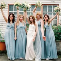Wholesale Ocean Blue Gowns - Ocean Blue Modern Chiffon Long Bridesmaid Dresses 2017 Summer Garden Wedding Guest Dresses A Line V Neck Pleats Cheap Maid of Honor Gowns