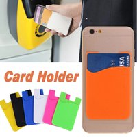 Wholesale wallet smartphone - Ultra-slim Self Adhesive Credit Card Case Stick-on Wallet Card Set Card Holder Colorful Silicone For iPhone X 8 7 Plus Smartphone Samsung S8