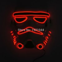 Wholesale Blue Light Themes - 10 color choice Sound activated fashion Movie Theme Halloween Mask EL Wire LED Neon light Glow Party Mask Powered by 2AA Battery