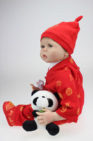 Wholesale Tang Kids - New 22 Inch Realistic Reborn Baby Doll Just Like The Real Baby Collectible Baby Born Wearing Chinese Tang Suit For Kids Gift