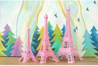 Wholesale 3d House Craft - Romantic Pink Paris 3D Eiffel Tower model Alloy Eiffel Tower Metal craft for Wedding centerpieces table centerpiece 10cm 18cm 25cm 30cm tall