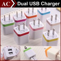 2A Universal Square Wall Charger US EU Plug Dual Color USB Alimentation électrique Travel Home Adapter 2 ports Chargeur direct pour Samsung HTC LG All Tablet