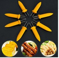 Wholesale Corn Cleaner - BBQ Prong Skewer Needle Barbecue Corn Fork Picks Picnic Kitchen Tool Fruit Fork Prongs Corn Server BBQ Prongs KKA2341