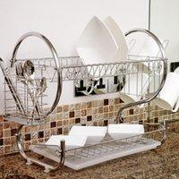 Wholesale Pc Shelf - 1 Pc S-Shaped Dish Rack 2 Layers Kitchen Dish Shelf Plate Cup Bowl Drain Rack Cutlery holder Rack