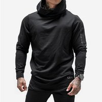 Wholesale hem jacket - Men Fashion Brand Hoodies Sweatshirts Slim Fit Hip Hop Street Wear Hooded Jacket Long Hem Sweatshirts Autumn Winter