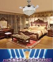 Wholesale g4 fan - european crystal ceiling light with fan 42inch invisible blades fan light for bedroom dining room MYY