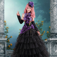 Wholesale Vocaloid Halloween Costumes - Kukucos Anime Women's Vocaloid Costume Cosplay Megurine Luka Dress 1st Halloween Party Dress