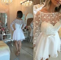 Wholesale Long Sleeve Coctail Dresses - 2016 Coctail Dress Bateatu Lace Long Sleeves White Knee Length with Chiffon Lace up Cocktail Dress
