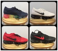 2018 Cheap Vapor Maxes Cushion Hombres Mujeres Zapatillas Negro / Rojo / Púrpura Kpu Transpirable Rainbow Unisex Vapor Athletic Sport Sneakers 36-45