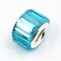 50PCS / Lot Beautiful Lake Blue Resin Rhinestone Charms Prata core European Big Hole Beads para Jóias Making Low Price
