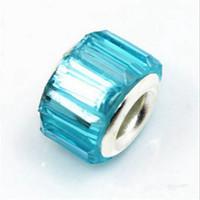 ingrosso gioielli del lago-50PCS / Lot Bella Lake Blue Resin Rhinestone Charms Argento nucleo europeo Big Hole Beads per monili che fanno prezzo basso