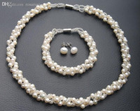 Wholesale Wedding Jewelry Sets For Cheap - Wholesale-HOT CHEAP Real Freshwater Cultured Natural Pearl Necklace Bracelet Earrings Set Wedding Bridal Jewelry Set for Women Female