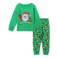 Wholesale Ins Boys and Girls Christmas Pajamas Sets Children Cartoon Holiday Leisure Wear Long sleeve Tops Printed Pants Kids Sleepwear