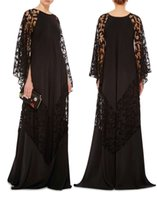 Wholesale Islamic Caps - 2017 plus size black lace arabic caftans evening dresses Dubai Kaftans Abayas muslim evening gowns islamic clothing