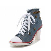denim tênis alto salto venda por atacado-2016 moda sexy mulheres sapatilhas sapatos de salto alto bombas zapatos mujer tacon sapatos de salto alto rebite denim senhoras tenis feminino