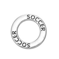Wholesale Soccer Antiques - Myshape Antique silver plated Affirmation charms Engravesd Letter SOCCER circle charms sports jewelry for bracelet necklaces