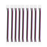 conector hembra rgb led al por mayor-Conectores de luz de tira de RGB LED 10mm 4PIN Sin cable de soldadura Cable de placa PCB a 4 Pin Adaptador hembra para SMD 3528 5050