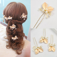Wholesale Wedding Hair Flower Clips - 4PCS Wedding Accessories Golden Bridal Pearl Hairpins Flower Crystal Rhinestone Hair Pins Clips Bridesmaid Women Hair Jewelry clip&pin