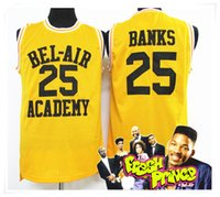 Wholesale Fresh Movies - (With Logo & Name) Stitched New Banks 25 Jersey Fresh Prince BEL AIR Jersey Cheap Throwback WILL SMITH Movie Retro Shirt Basketball Jerseys