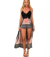 Wholesale Short Mini Rompers - 2016 Sexy Rompers Womens Jumpsuit summer style Backless V-Neck Spaghetti Strap Maxi Overlay Bodysuit women shorts new hight quality dree s