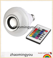 mini altavoz de control remoto al por mayor-Inalámbrico E27 12W Control Remoto Bluetooth Mini Smart LED Altavoz de Audio RGB Color de Luz Bombilla Caliente Lámpara de Música