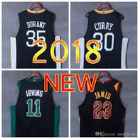 2018 nuovo stile magliette da basket di alta qualità 35 Kevin Durant Celtics 30 Stephen Curry # 11 Kyrie Irving Black 23 LeBron James Jersey