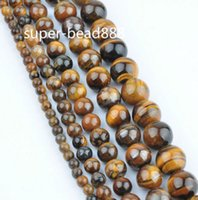 Wholesale loose tiger eye beads - New 200pcs 4 6 8 10mm Tiger Eye Round Stone Loose Spacer Beads For Jewelry Making