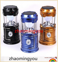 Wholesale Outdoor Recreation - Ultra Bright Camping Lantern Solar Rechargeable LED Portable Light for Outdoor Recreation with USB Power Bank to Charge Phones