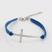 marineblaue silberne armbänder großhandel-MIC 100 Stück Moden Navy Blue Velvet mit Antik Silber Legierung Kreuz Charm Adjustable String Armband