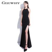 8dd83c0a71406cb CEEWHY Холтер Русалка вечернее платье вечернее платье реальная картина женские  вечерние платья плюс размер черный платье выпускного вечера Vestido Лонго