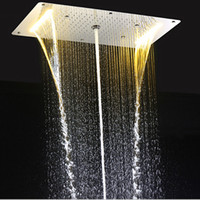 Wholesale Led Bathroom Accessories - Bathroom Rain Shower Set Accessories Faucet Panel Tap Hot and cold water Mixer LED Ceiling Shower Head Rainfall Waterfall Shower