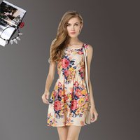 Wholesale Sleeveless Bohemian Beach Tank Dress - Summer Dress Women Casual Bohemian Boho Vintage Floral Print Sundress Printed Sleeveless Beach Chiffon Dresses Tank Mini 19