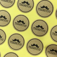 """Wholesale Moustache Stickers - Wholesale- 600PCS Lot 3*3 cm """"thank you"""" With Cute Moustache Kraft sticker Labels Customize Adhesive Sealing Favours DIY for Gift and so on"""