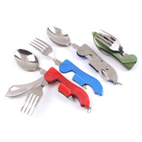 Wholesale multi function key knife for sale - Detachable Tableware Outdoor Camping Product Hang Key Buckle Small Meal Knife And Fork Spoon Multi Function Hot Sale qy F R