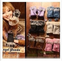 Wholesale Rabbit fur gloves lady s winter fingerless gloves hand wrist keyboard glove half fingers snow gloves WY96 P