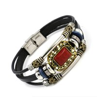 Wholesale Wholesale Bangle Cuff Watches - Fashion Stainless Steel Red Gemstone Leather Bracelets Alloy Beaded Multilayer Charm bracelets Watch buckle design Jewelry Women Cuff Bangle