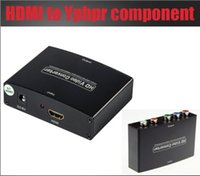 Wholesale Vga Component Adapter - Free shipping 1pcs HDMI to Component YPbPr+R L AV CONVERTER HDMI INPUT AND COMPONENT OUTPUT WITH POWER ADAPTER supply