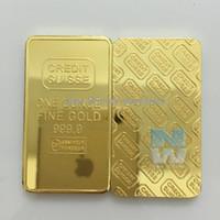 Wholesale Folk Art Ship - 1 oz CREDIT SUISSE 24K .999 Gold Clad Bullion Bar Ingot EXTREMELY RARE Free shipping