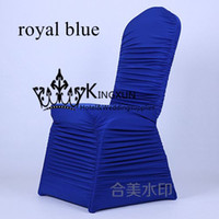Wholesale Chair Covers Pleats - Royal Blue Color Ruffle Lycra Chair Cover \ Pleated Spandex Chair Cover Wedding chair cover Free shipping
