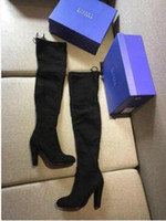 Wholesale Cowboy Sexy Man - Women's Black Long Thigh Boots Sexy Lady Stuart Boots WEI-TZ-MAN 5050 Highland Suede Over Knee High Boots On Sale 2.5mm 9.5mm