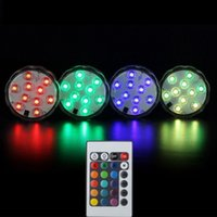 Controle Remoto 10 LED Submersível LED RGB impermeável LED Luz Battery Operated casamento Vaso Light Party