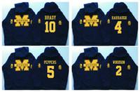 Wholesale football winter jackets - 5 Jabrill Peppers 4 Jim Harbaugh 10 Brady 2 Charles Woodson 21 Desmond Howard Michigan Wolverines Hockey Hoodie Hooded Sweatshirt Jackets