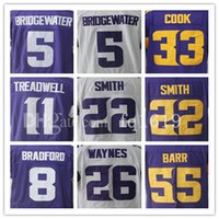 Wholesale Cooking Logos - Bridgewater men's jerseys 8 Bradford Diggs Smith Cook Barr 100% Stitched Embroidery Logos White Purple Jersey Cheap Sale Free Shipping