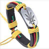 Wholesale Charm Wholesale Source - 2016 New Colorful maple leaves bracelet Personality leather bracelet fashion bracelet accessories boutique source Free transportation