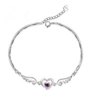 Wholesale Gift Box Purple Bracelet - Hand catenary wholesale 925 sterling silver wings of the angel love purple heart bracelets women gift iice new fashion jewelry NO172