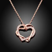Wholesale Tin Rose Jewelry Box - Fashion jewelry women pendant statement Necklaces & Pendants woman Green rose gold heart shaped gifts with box NK-01
