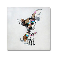 Wholesale Cute Picture Frames - Modern Cute Pet Dog Oil Painting Canvas Art Pictures for Bedroom Decoration Hand Painted Animal Oil Painting Home Decor No Framed