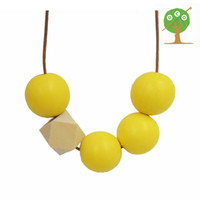 Wholesale Chunky Yellow Beaded Necklace - Hand painted yellow beads chunky necklace boho Geometric jewelry Beaded wood necklace unique necklace gift NW1822