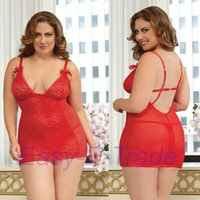 Wholesale Wholesale Sexy Plus Size Costumes - Wholesale- Big Size Lingerie Women Nightwear Plus Size Lingerie Sexy Costume Plus Size Nightgowns Sleepwear Pyjamas Women Underwear 3XL 4XL