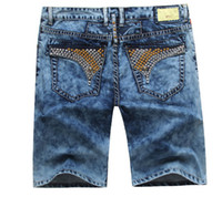 Wholesale Hot Sell Men Jeans - 4colour!Hot Selling Men's Designer Short Jeans Mens Robin Jean Cowboy Denim Short Pants with Eagle Wings Embroidery us size 32-42